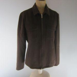 J. Crew Medium Brown Long Sleeve Wool Zip Jacket